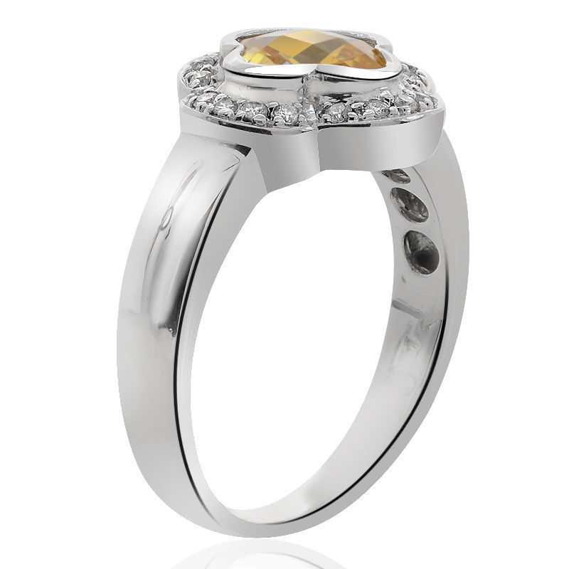 1.17 Carat Yellow Topaz with Round Cut Diamond Cocktail Ring 14K White Gold