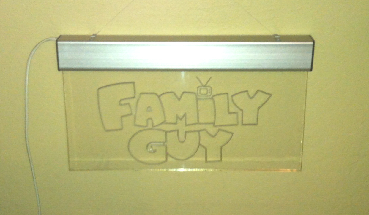 Electric Man Cave Signs : Family guy lighted glass sign electric great for a man