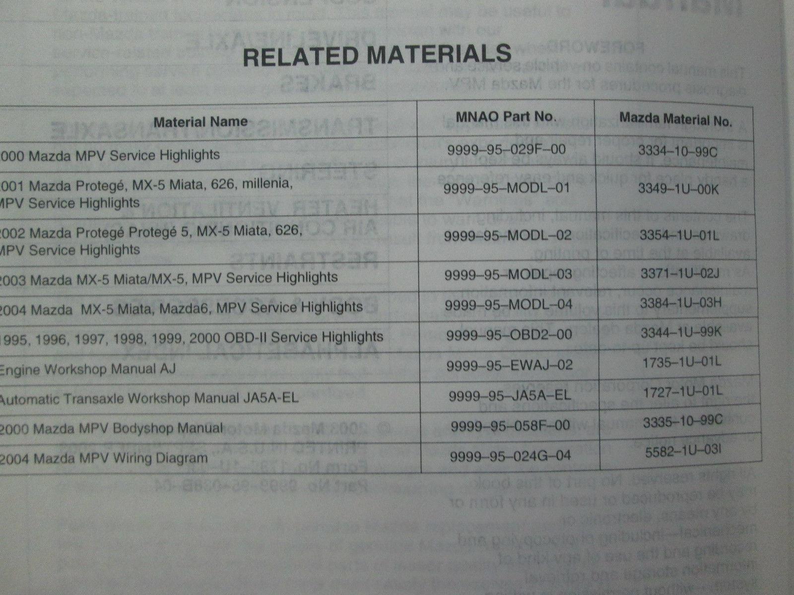 ... 2004 Mazda MPV Van Service Repair Shop Manual 4 VOLUME SET FACTORY OEM  BOOK 04 x ...