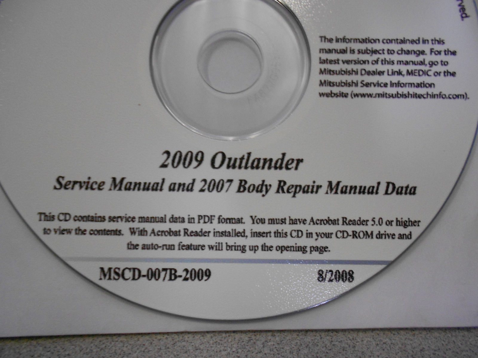 2009 2007 MITSUBISHI OUTLANDER Service Repair Manual CD FACTORY BARGAIN 09 07