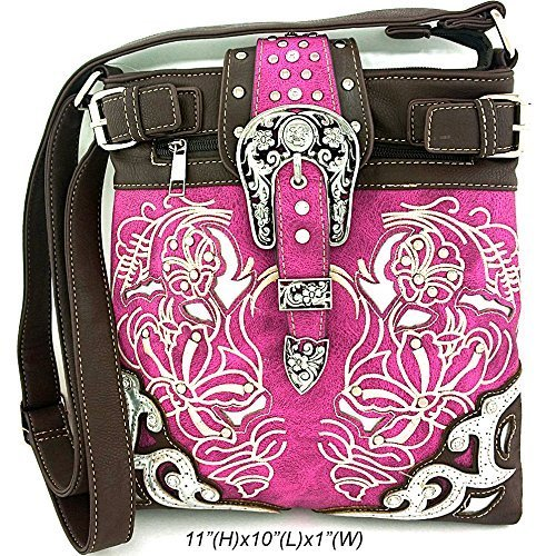 Embroidered Western Buckle Messenger Bag Cross Body Purse (Purple)