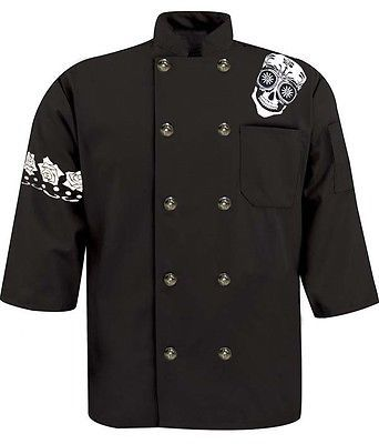 Graphic Printed Chef Coat Black Day of Dead Skull 3/4 sleeve Diced Gear