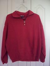 Mens KIRKLAND Burgundy Distress Tight Knit Cotton 1/2 Zip Sweater Sweatshirt  XL - $4.99