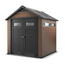 Outdoor Storage Shed 7.3'x7.5'x8.3' Patio Lockable Wood and Plastic Comp... - $1,600.02