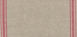 "27ct Ticking Stripe Natural/Dark Red banding 6.6""w x 36"" 100% linen Mill Hill  - $25.20"