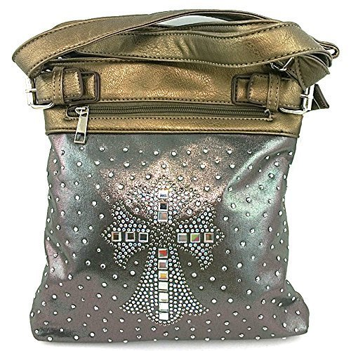 Rhinestone Studded Crystal Squares Cross Messenger Bag Cross Body Purse (Pewter)