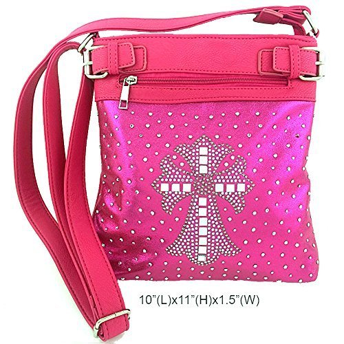 Rhinestone Studded Crystal Squares Cross Messenger Bag Cross Body Purse (Pink)