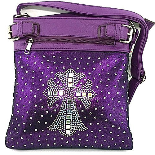 Rhinestone Studded Crystal Squares Cross Messenger Bag Cross Body Purse (Purple)