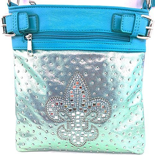 Rhinestone Studded Crystal Squares Fleur De Lis Messenger Bag Cross Body Purse (