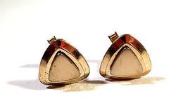 VIntage Gold Tone Modernist Style Triangle Cufflinks, Light Wear, Patent... - $5.93