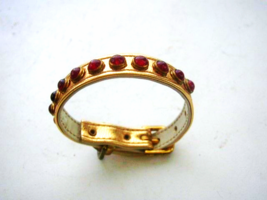 Stunning, Gold Leather- Faux Rubies 7.5in Pet Collar or fits size 6.5in - $9.45