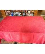 Red Fabric Tablecloth Rectangular Holiday Gentl... - $5.00