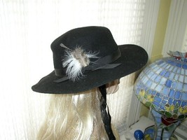 Madcaps, 100% Wool, 3.5in x 14in Black Cowboy Hat with Feathers - $21.80