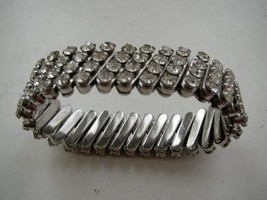 Art Deco, 1920-40s, Gorgeous, 5in to 8in  Stretchable Rhinestone Bracelet - $28.45