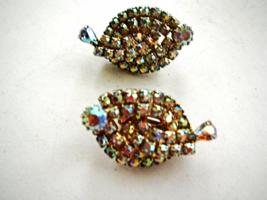 1950s Fabulous Borealis Rhinestone Clip Earrings - $8.50
