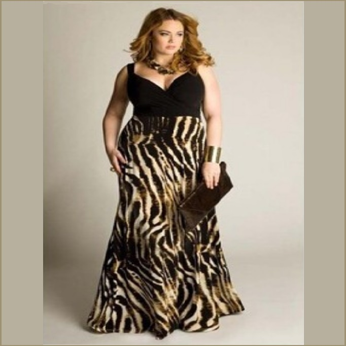 Sexy Sleeveless Flowing Chiffon Zebra Print Empire Waist V Neck Plus Size Gown