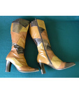 Vintage Patchwork Faux Leather Knee High Boots ... - $26.72