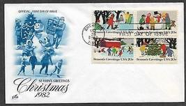 USA 1982 Sc 2030a BLOCK CHRISTMAS Sled SNOWMAN SKATING ARTCRAFT FDC - $0.99