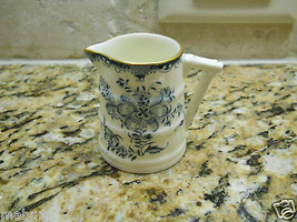 Royal Worcester Mansfield Barrel Shaped Mini Creamer blue white floral - $17.77