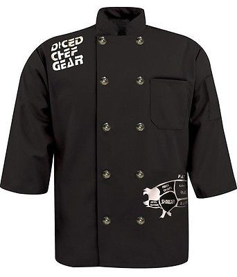 Graphic Printed Chef Coat Black Pork Butcher Cuts 3/4 sleeve Diced Gear