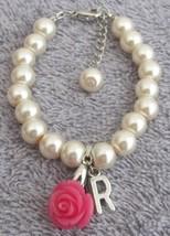 Ivory Pink Pearl Bracelet Flower Girl Personalize Bracelet W/ Initial - $14.68
