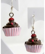 Party Favors Cupcake Earrings Hypoallergenic Chocolate Cupcake - $8.18