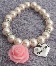 Resin Rose Flower Bracelet Flower Girl Gift Blush Pink Pearl Bracelet - $15.33
