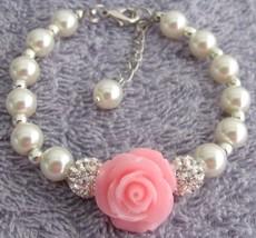 Pink Rose Flower Bracelet Ivory Pearl Paveball Bracelet - $15.33