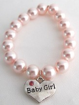 Born Baby Jewelry Baby Girl Charm Soft Pink Pearl Bracelet - $12.08
