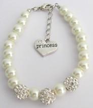 Rhinestones Pavel Ball Bracelet Flower Girl Ivory Bracelet - $14.68
