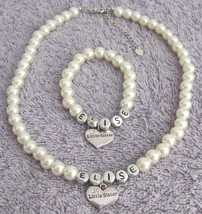 Big Sister Little Sister Ivory Pearl Personalized Necklace Bracelet - $22.48