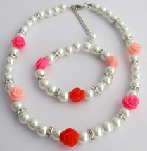 Children Pearl Jewelry with Rose White Pearls Necklace Bracelet - $23.78