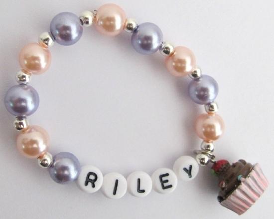 Cupcake Jewelry Name Bracelet Party Favor Bracelet Baby Toddler - $11.43