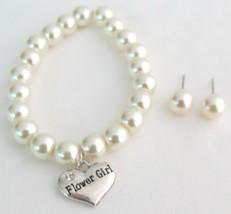 Bridal Shower Jewelry Flower Girl Bracelet & Stud Earrings - $16.63
