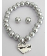 Bracelet & Stud Earrings Set Gray Pearls Flower... - $16.63