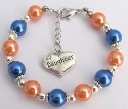 Daughter Charm Bracelet Special Daughter Gift Orange Blue Pearls - $13.38