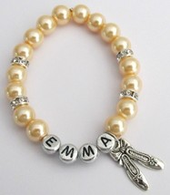 Ballerina Jewelry Ballet Shoe Bracelet Party Favor Gift Yellow Pearls - $11.43