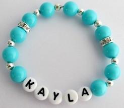 Baby Bracelet Baby Girl Gift Personalized Baby Jewelry Blue Plearl - $10.78