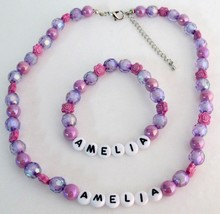 Personalized Necklace Bracelet Holiday Gift Purple Beads Flower Beads - $14.68