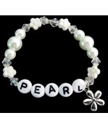 Baby Girl Name Bracelet White Pearls Flower Bea... - $11.43