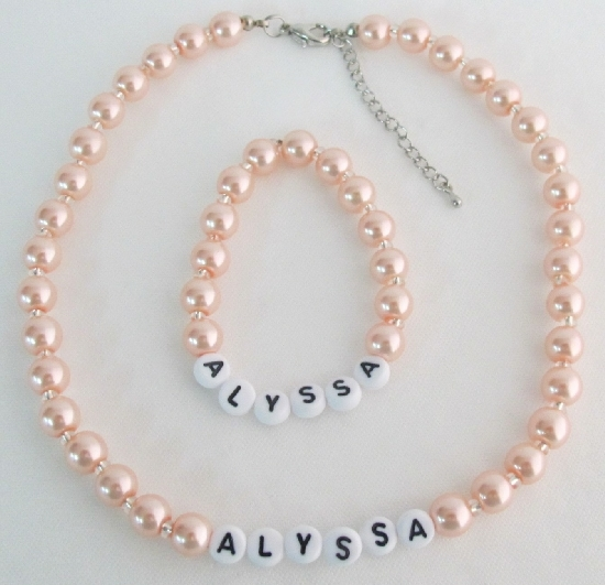 Daughter Gifts Flower Girl Jewelry Personalized Jewelry Peach Pearls