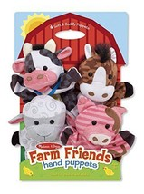 Cute Cow Pig Sheep Horse 4-Pack of Plush Hand P... - $30.91