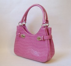 Salmon Pink Charter Club Purse Handbag Faux Crocodile Lined Silver Metal... - $30.00