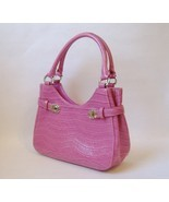 Salmon Pink Charter Club Purse Handbag Faux Crocodile Lined Silver Metal... - £21.68 GBP