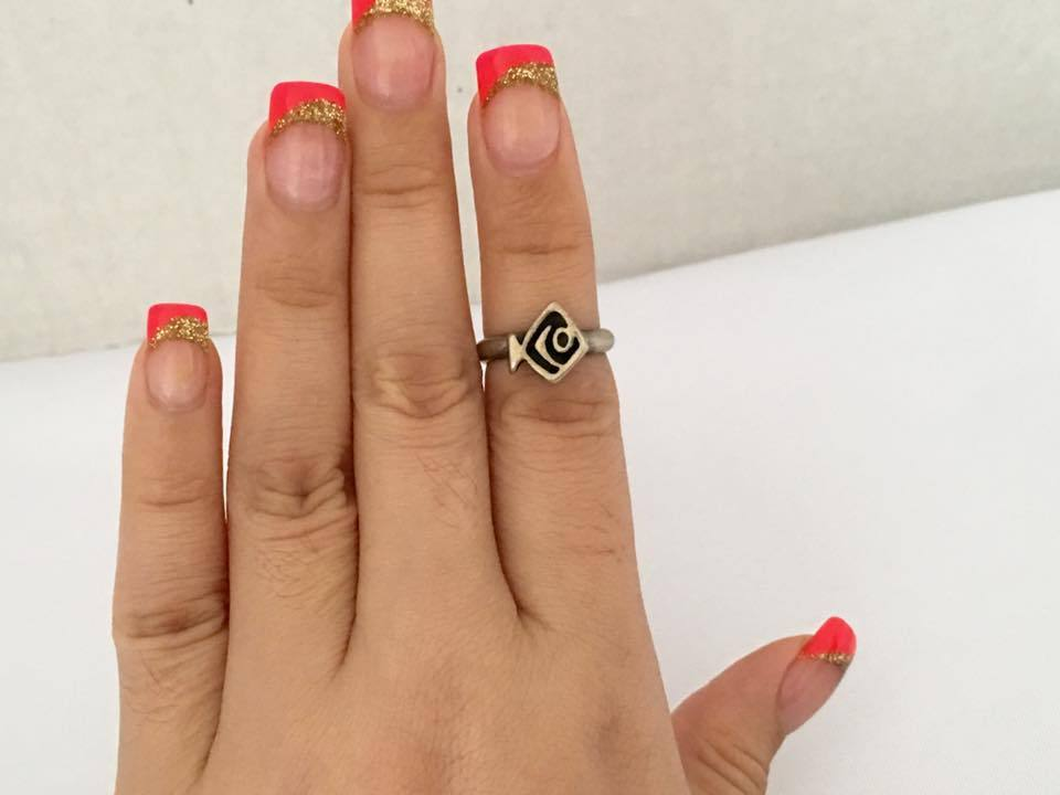 Vintage Sterling Silver Fish Ring Size 4