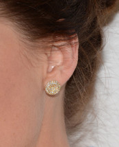 Women's Fashion Jewelry 925 Silver Yellow GP Celebrity Clare Grant Stud Earrings - $53.25