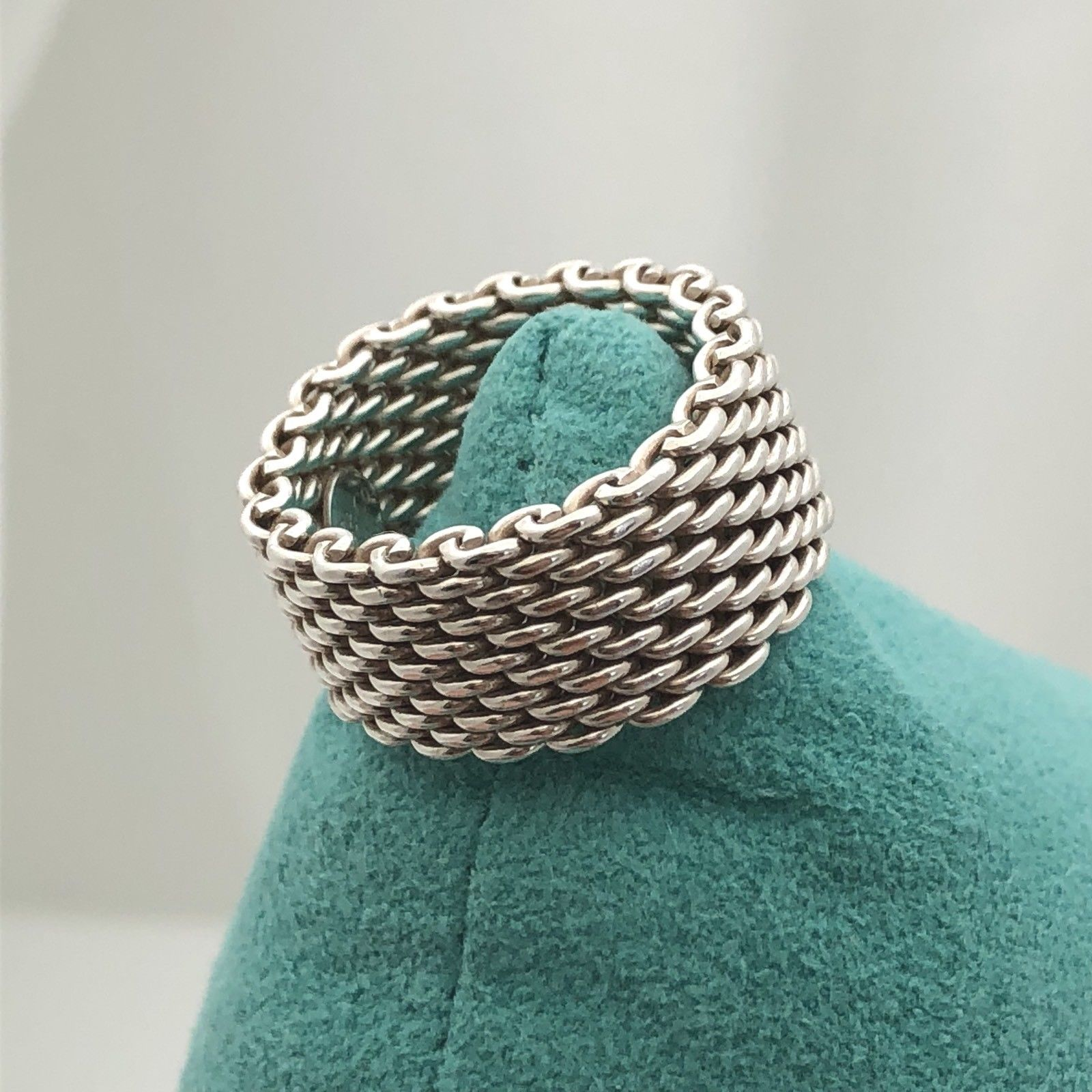 bea6233df 57. 57. Previous. Tiffany & Co Sterling Silver Somerset Mesh Weave Ring  Unisex Mens Size 7.5. Tiffany ...