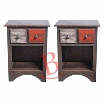 Two Rustic Arco Multi Color Closed Nightstands Solid Wood Western Lodge ... - $494.99