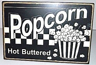 Primary image for Popcorn Rustic Antique Style Metal Wall Plaque Sign Decor