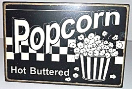 Popcorn Rustic Antique Style Metal Wall Plaque Sign Decor - $15.00